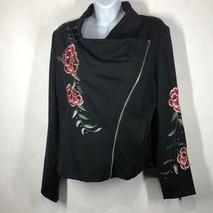 W5 black floral embroidered jacket side medium